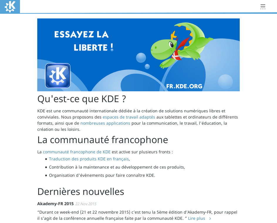 Screenshot fr.kde.org